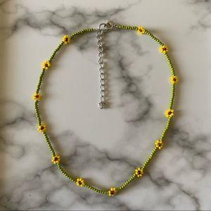 Dainty Sunflower beaded choker necklace